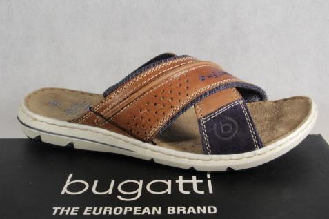 Bugatti Herren blau/braun Pantoletten Clogs Pantoffel Pantolette blau/braun Herren NEU! 364e6a