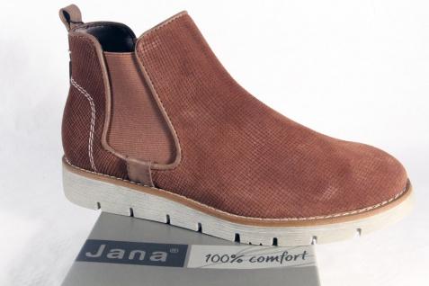 Jana Damen Stiefelette Stiefeletten Stiefel Slipper Boots Echtleder braun NEU