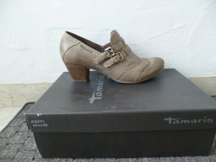 Tamaris Ballerina Slipper Halbschuhe Pumps beige Leder NEU!!