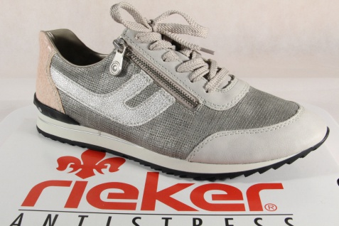 Rieker Damen Schnürschuhe Sportschuhe Halbschuhe Sneakers grau/ beige 56811 NEU!