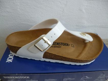 Birkenstock Gizeh Zehen Trenner Pantolette Sandale White Patent/Lack 1005299 NEU