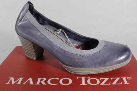 Marco Tozzi Pumps Ballerina Slipper blau weiche Innensohle Echtleder NEU!