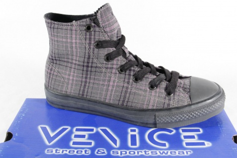 Venice Stiefel Gummisohle, zum Schnüren, grau/ karo, Gummisohle, Stiefel NEU 83cfb9