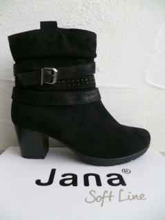 Jana Stiefeletten Soft Line Stiefel Stiefelette Boots schwarz 25372 NEU