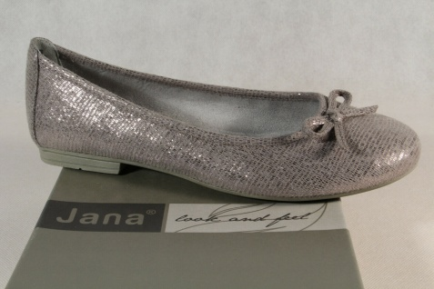 Soft Line by Jana Damen Ballerina Pumps Slipper grau/silber Weite H 22164 NEU!