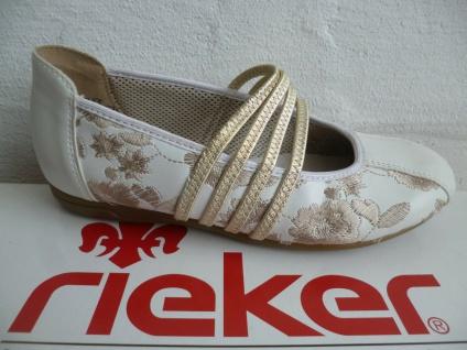Rieker Mädchen Ballerina Slipper Sneakers Pumps weiß/gold NEU!!