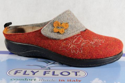Fly Filz Flot Damen Pantoffel Hausschuhe Filz Fly rot/ grau Wechselfußbett, NEU!! 6acbb4