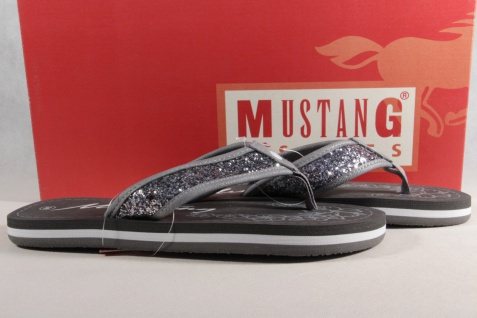 Mustang Zehenstegpantolette Pantoletten silber/grau silber/grau silber/grau Neu! 5a12e9
