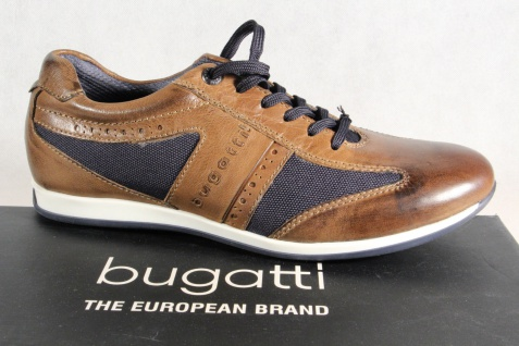 Bugatti Schnürschuh Schnürschuhe Halbschuhe Sneakers braun/blau Leder NEU!