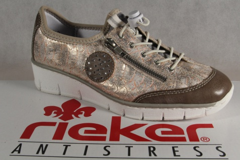 Rieker Sneakers, Damen Slipper Schnürschuhe, Halbschuhe, Sneakers, Rieker rose NEU! 065e64