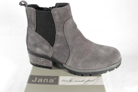 Jana Damen Stiefel Stiefeletten Stiefelette Boots Winterstiefel grau Leder NEU
