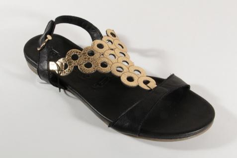 Damen Sandale Sandalen Sandaletten schwarz Echtleder 28102 NEU!
