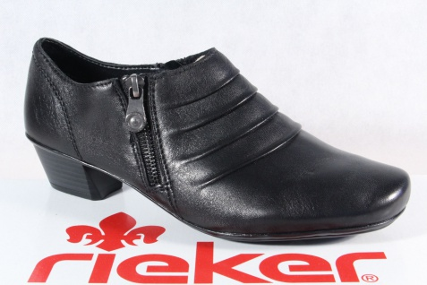 Rieker Damen Slipper Halbschuhe Trotteur Sneakers schwarz Echtleder 53871 NEU!