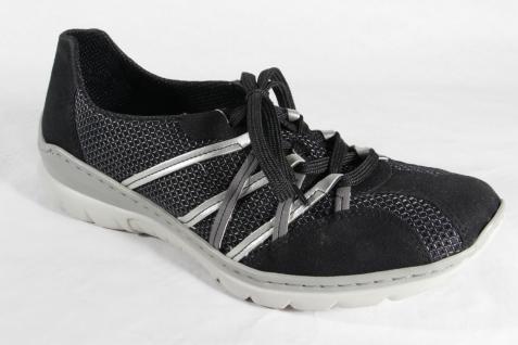 Rieker Damen Schnürschuh, NEU! Halbschuh, Sneaker Kunstleder schwarz/silber NEU! Schnürschuh, Beliebte Schuhe ef57da