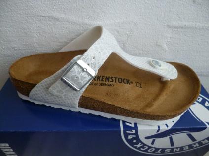 Birkenstock Gizeh Zehen Trenner Pantolette Sandale Magic Snake White 1009115 NEU