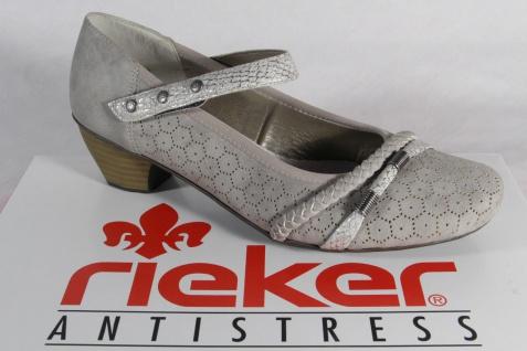 Rieker Slipper Ballerina Halbschuhe Pumps weiche Lederinnensohle, grau 41777 NEU