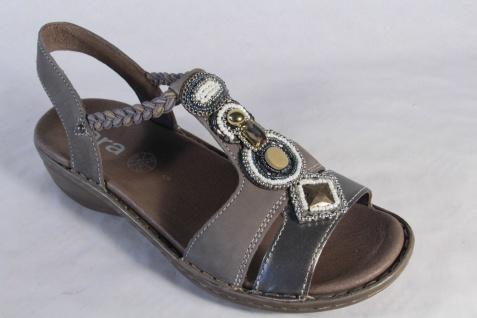 Ara Sandale Lederfußbett Sandalette Leder, grau bronze Lederfußbett Sandale NEU! 919298