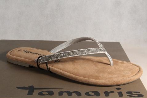 Damen Tamaris Echtleder Zehenstegpantolette Sandale Pantolette silber Echtleder Tamaris NEU! b4ab90