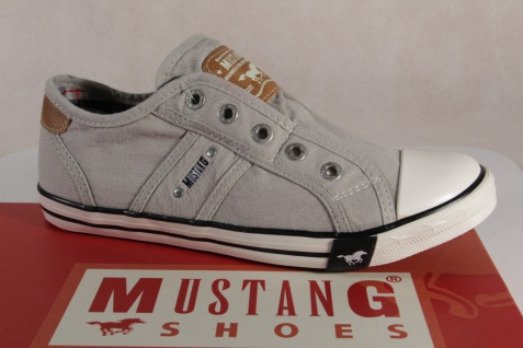 Mustang Stoff Slipper Sneaker Halbschuh grau, Gummisohle NEU 5803 NEU Gummisohle 62b000
