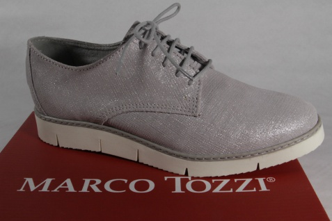 Marco Tozzi Schnürschuhe Sneakers Echtleder Halbschuhe grau Echtleder Sneakers NEU! 6a8109