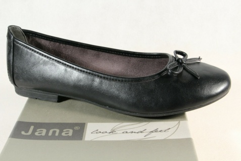 Jana Soft Line Damen Ballerina Pumps Slipper schwarz Weite H 22163 NEU!