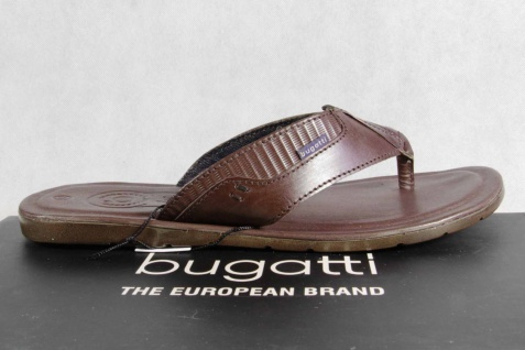 Bugatti Zehenstegpantolette Zehenstegpantolette Bugatti Pantoletten braun Echtleder NEU! 05a959