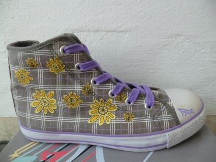 Indigo Stiefel Schnürstiefel Boots grau/lila Textil / Leinen Mädchen Neu!!!