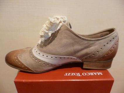 Marco Tozzi Schnürschuh Sneakers Echtleder Halbschuhe beige/braun Echtleder Sneakers NEU! 543372