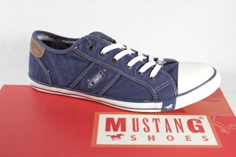 Mustang Herren Schnürschuhe Sneaker blau Stoff Gummisohle NEU