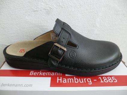 Berkemann Herren Clogs Sabot Pantoletten Hausschuhe Leder schwarz 05708 Neu!