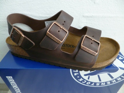 Birkenstock Sandalen Sandale Pantolette Leder braun Milano 034871 NEU