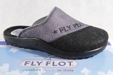 Fly Flot Pantoffel Hausschuhe Pantoletten Clogs grau/ schwarz NEU!!