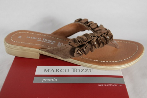 Marco Tozzi Pantolette Zehenstegpantolette Pantolette Tozzi Leder braun NEU! 6f8626