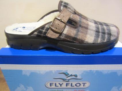Fly Flot Herren Pantoffel, Textilstoff, braun/beige, warm gefüttert NEU!!