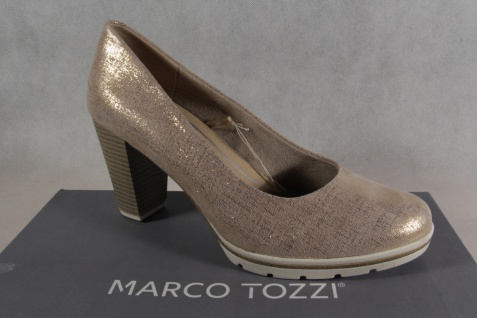 Marco Tozzi Pumps Ballerina Slipper düne metallic Echtleder NEU!