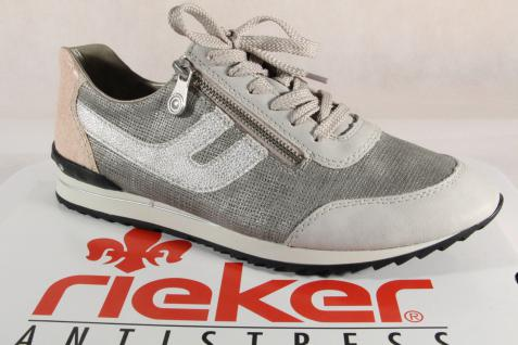 Rieker Damen Schnürschuhe, Halbschuhe, Sneakers, grau/ beige, 56811 RV NEU!