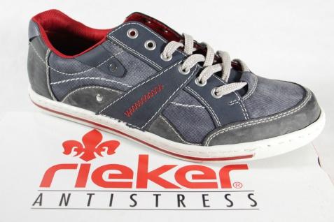 Rieker Herren Schnürschuhe Sneakers Halbschuhe NEU! blau Wechselfußbett NEU! Halbschuhe 724e54
