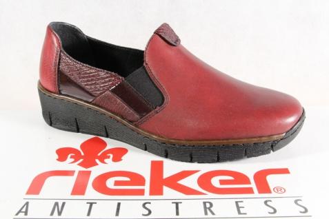 Rieker Damen Slipper Halbschuhe, Sneakers Leder weinrot 53754 NEU!