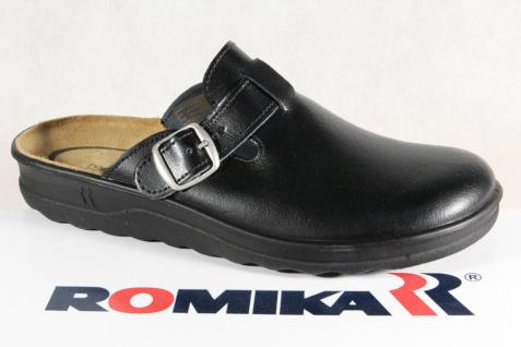 Romika Herren Clogs Sabot Pantolette Pantoletten Hausschuhe Leder schwarz Neu