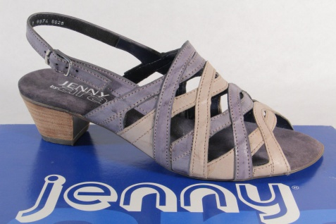 Jenny by Ara Sandalen Sandaletten Sling Echtleder grau/blau NEU!