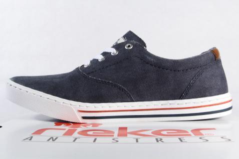 Klassisch Sneaker, @5725 Rieker Herren Schnürschuh, Sneaker, Klassisch Halbschuh Textil blau NEU 360c06
