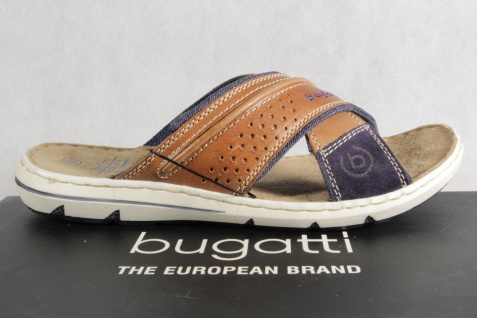 Bugatti Herren blau/braun Pantoletten Clogs Pantoffel Pantolette blau/braun Herren NEU! d28469
