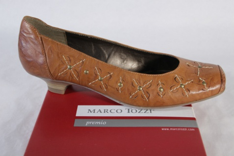 Marco Marco Marco Tozzi Damen Slipper, braun, Gummisohle, weiche Lederinnensohle NEU! 293147