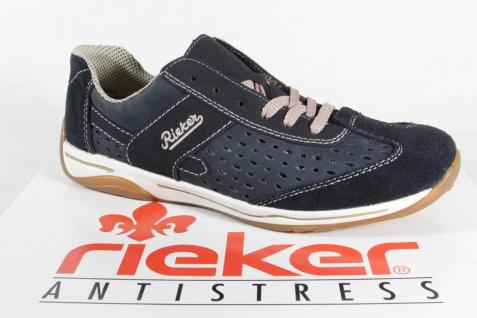 Rieker Halbschuhe, Damen Schnürschuhe, Halbschuhe, Rieker Sneaker Echtleder/Synthetik blau NEU! 304421