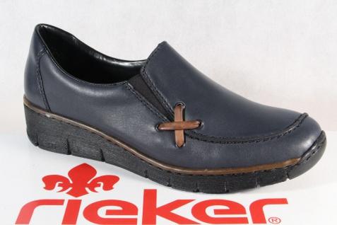 Rieker Damen Slipper Halbschuhe Sneakers Leder blau 53783 NEU!