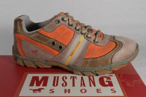 Mustang Schnürschuhe Halbschuhe Sneakers Kunstleder braun/orange NEU!