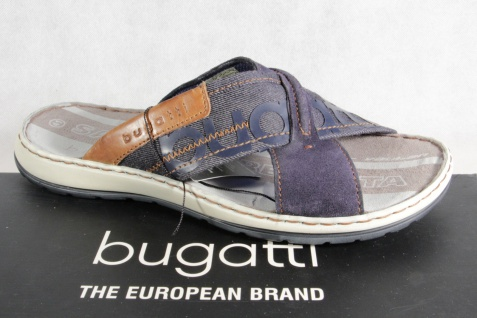 Bugatti Herren Pantoletten Clogs Pantoffel Pantolette blau NEU!