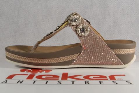 Rieker Sandale Damen Zehenstegpantolette Pantolette Sandale Rieker Pantoletten V1451 rosa NEU! 905e5b