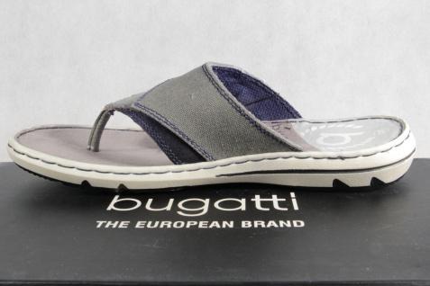 Bugatti NEU! Zehenstegpantolette Pantoletten grau Echtleder NEU! Bugatti 77e85d