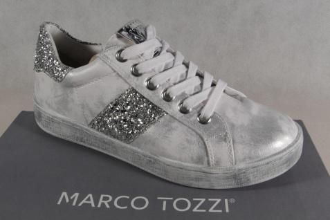 Marco Tozzi Schnürschuhe Sneakers Halbschuhe weiß/ silber 23737 NEU!